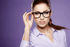 an attractive woman wearing glasses