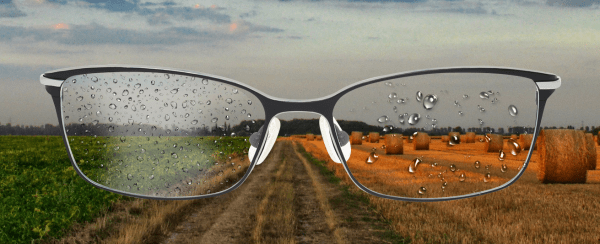 a pair of glasses with raindrops on the lenses