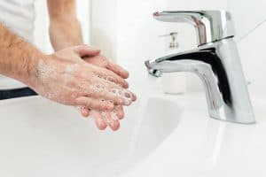 hands being washed thoroughly