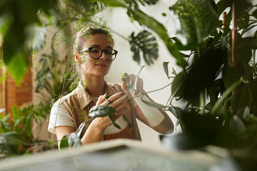 A pretty lady tending to some indoor plants