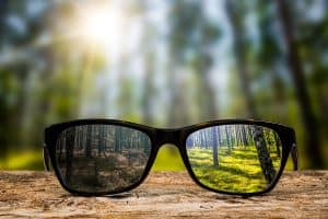 a pair of glasses with a clear view lenses