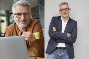 two pics of the same man wearing two different pairs of glasses