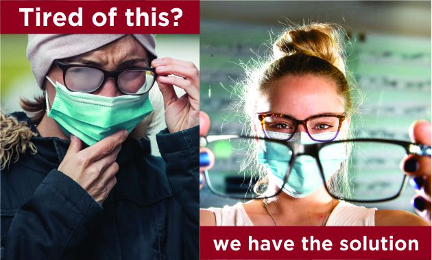 two woman one is unhappy wearing a mask with foggy glasses and another woman who is placing fogless glasses on you