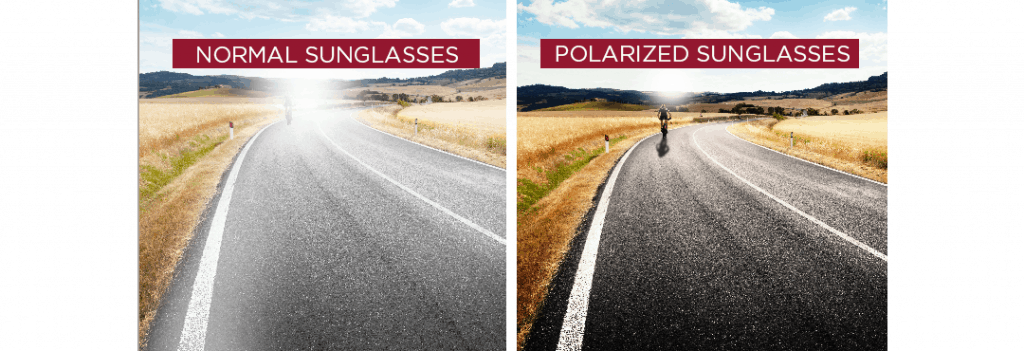 an image of a man cycling on the road shown in different views using normal sunglasses vs polarized sunglasses